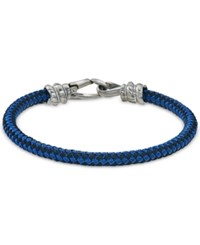 Esquire Men's Jewelry Blue And Black Woven Bracelet In Stainless Steel First At Macy's