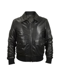 Forzieri Men's Black Leather Motorcycle Jacket