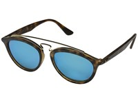 Ray Ban Rb4257 53Mm Matte Havana Frame Mirror Blue Lens Fashion Sunglasses Brown