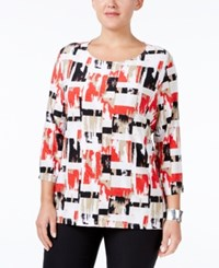 Jm Collection Plus Size Printed Jacquard Top Only At Macy's Mod Block