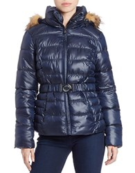 Guess Faux Fur Trimmed Puffer Coat Blue