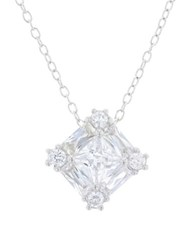 Lord And Taylor Cubic Zirconia Sterling Silver Square Pendant Necklace