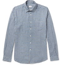 Incotex Ted Slim Fit Penny Collar Gingham Cotton Shirt Blue