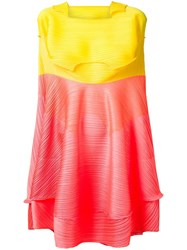 Issey Miyake Pleats Please By Jumping Plate Dress Yellow Orange