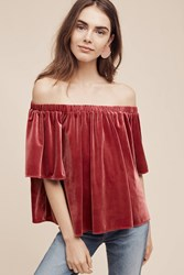 Sunday In Brooklyn Maisy Velvet Off The Shoulder Top Pink