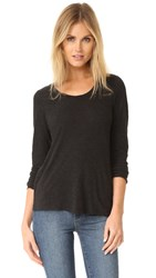 Monrow Knot Back Long Sleeve Tee Black