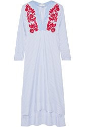 Tory Burch Jade Embroidered Cotton Oxford Midi Dress Blue
