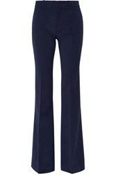 Gucci Stretch Wool And Silk Blend Flared Pants Navy