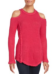 Saks Fifth Avenue Red Cold Shoulder Sweater Raspberry