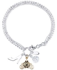 Disney Cinderella Charm And Cubic Zirconia Bracelet In Sterling Silver And 14K Gold Plated Sterling Silver