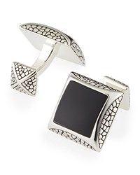 Pebbled Silver Cuff Links With Onyx Stephen Webster Black