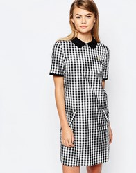 Fred Perry Gingham Polo Dress With Zip Back Black