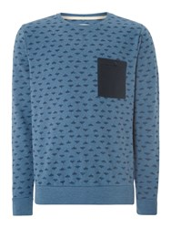 Blend Of America Pattern Crew Neck Pull Over Jumper Blue