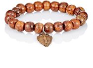 Miracle Icons Beaded Charm Bracelet Brown