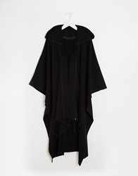 Asos Hooded Cape In Black