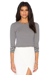 Greylin Ava Stripe Button Back Top Black And White