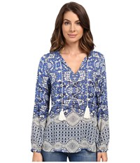 Dylan By True Grit Bohemian Chloe Blouse Indigo Women's Blouse Blue