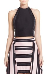 Women's Halston Heritage High Neck Fitted Faille Crop Top