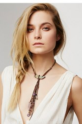 Annie Hammer Leather Fringe Druzy Slice Necklace