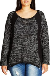 City Chic Plus Size Women's 'S P' Colorblock Sweater
