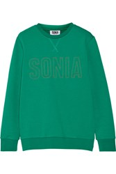 Sonia Rykiel Embroidered French Terry Sweatshirt Green