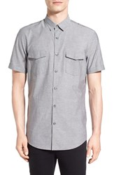 Calibrate Men's Trim Fit Short Sleeve Military Shirt Grey Shade Nep