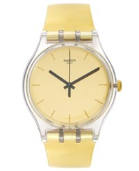 Swatch Unisex Swiss Goldenall Gold Tone Strap Watch 41Mm Suok120