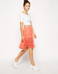 American Apparel Lace Mid Length Skirt Pinkcheekswpink