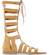 Dune Lahlia Suede High Leg Gladiator Sandals Tan Suede