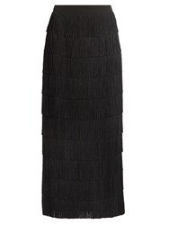 Stella Mccartney Fringed Silk Crepe Skirt Black