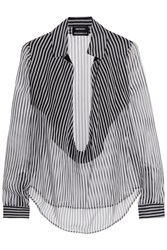 Anthony Vaccarello Striped Silk Mousseline Blouse