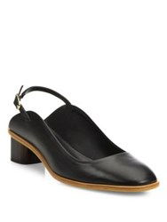 Robert Clergerie Paca Leather Block Heel Slingbacks Black