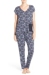 Midnight By Carole Hochman Women's Satin Trim Pajamas Midnight Ditsy