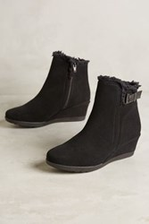 Anthropologie Shearling Lined Wedge Booties Black