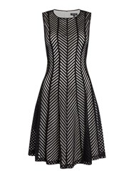 Episode Sleeveless Chevron Fit And Flare Dress Black