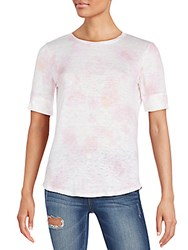 Rebecca Taylor Faded Floral Print Linen Tee Faded Rose