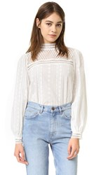 Endless Rose Woven Long Sleeve Lace Top White
