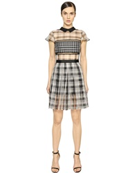 Self Portrait Plaid Silk Organza Dress Black White
