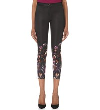 Ted Baker Shadow Floral Cropped Satin Trousers Mid Grey