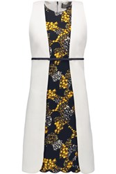 Giambattista Valli Wool Jacquard Paneled Crepe Dress Yellow