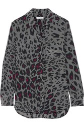 Equipment Reese Leopard Print Washed Silk Shirt Dark Gray