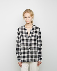 Raquel Allegra Plaid Henley Blouse Black And White