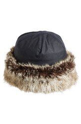 Barbour Women's 'Ambush' Waxed Cotton Hat With Faux Fur Trim