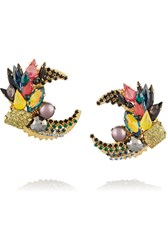 Vickisarge Jungle Night Gold Plated Crystal Earrings Metallic