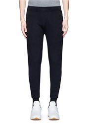 Neil Barrett Thunderbolt Embroidered Bonded Jersey Jogger Pants Black