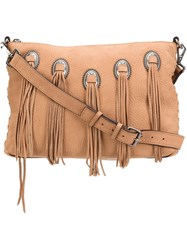 Rebecca Minkoff Eyelet Fringed Cross Body Bag Brown
