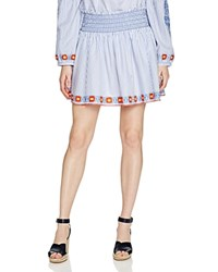 Tory Burch Grace Embroidered Oxford Stripe Mini Skirt Blue Dusk White
