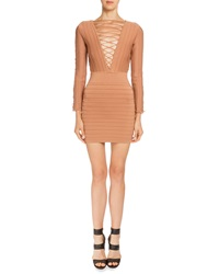 Balmain Long Sleeve Lace Up Bandage Dress Bronze