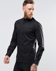 Noose And Monkey Skinny Shirt With Point Collar With Stretch Black