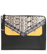 Fendi Monster Snakeskin And Crocodile Leather Clutch Black